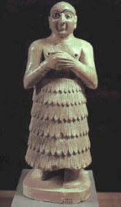 A statue of a worshipper from Mari, on the Euphrates river in Mesopotamia (modern Syria).