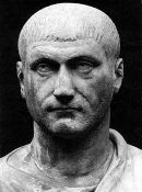 Maxentius: a square-headed white man with a military crew-cut