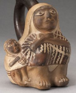 A Moche woman and child
