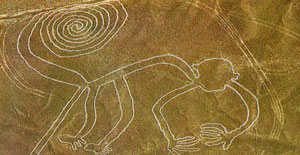 Nazca lines - a giant monkey drawn on the desert floor