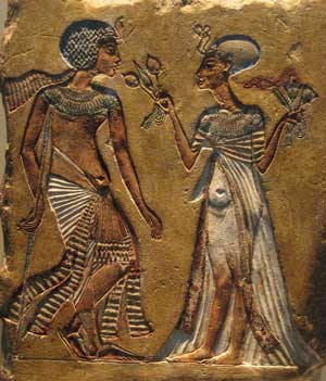 Nefertiti and Akhenaten in ancient Egypt, about 1300 BC