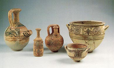 Philistine pottery (compare Mycenaean Greek pottery