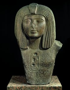 Pharaoh Osorkon I with hieroglyphics and an alphabetic inscription. Ca. 924-895 BCE. Egyptian, found in Byblos, now in the Louvre.