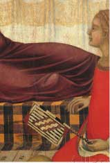 """Pietro Lorenzetti, """"Birthof the Virgin"""", with a woven,square hand fan like WestAsian fans (Siena, 1342)"""