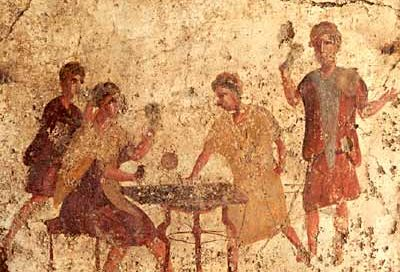 Men gambling in an inn at Pompeii