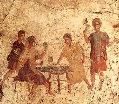 Men gambling in an inn at Pompeii