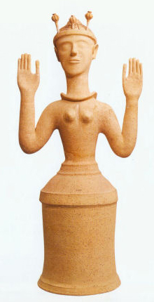 Minoan goddess with a poppy seed pod headdress(Heraklion Museum, Crete, ca. 1300 BC)