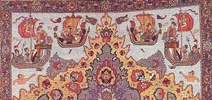 Carpet with Portuguese ships on it (Khorasan, late 1500s AD)