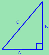 A right triangle with the hypotenuse labelled C and the other two sides A and B