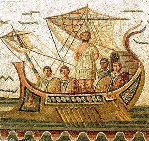 Roman sailing ship with square sails (100s AD, Bardo Museum, Tunisia)