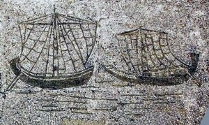 Ships with square sails (Ostia, 100s AD)