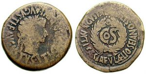 A coin of Tiberius with Sejanus' name on it