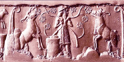 Shepherd on a cylinder seal (Berlin Museum)