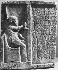Roman women: Tombstone of Septimia Stratonice, a shoemaker about 100 AD