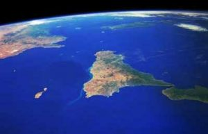 Sicily seen from space (the tip of Italy is on the right)