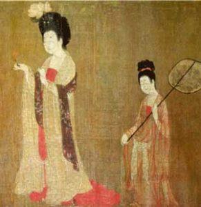 Zhou Fang painting of a fan-bearer(T'ang Dynasty, ca. 750 AD)
