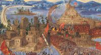 Tenochtitlan under attack (painted in the 1600s)