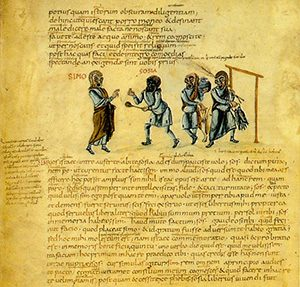 A page from a manuscript of Terence, written about 825 AD (now in the Vatican)