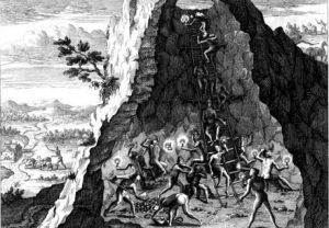 Mining in Potosí, an engraving from Theodoor de Bry in Historia Americae sive Novi Orbis, 1596