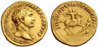 Gold coin of the Roman emperorTrajan(d. 117AD)