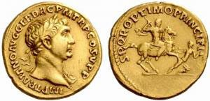 Gold coin of the Roman emperor Trajan (d. 117 AD)
