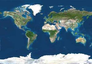 The world as seen from space (flattened out)