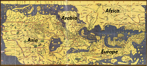 A map showing south as up, and Arabia as the center: African map project