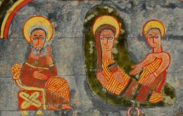 Birth of Jesus, painted in Ethiopia ca. 1300 AD. The clothing seems to be striped in different directions.