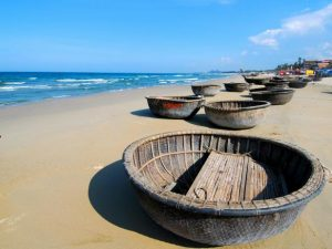 Fishermen's wicker boats on the beach at Danang, in Vietnam