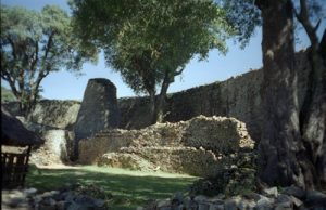 Great Zimbabwe: a stone wall circle with smaller stone circles inside it in Central Africa