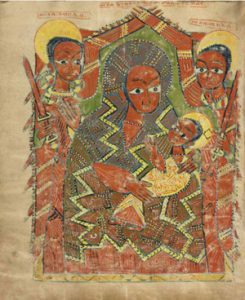 A painting of a dark-skinned woman holding a baby: African daily life