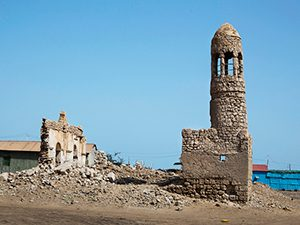 Mosque in a medieval seaport in East Africa (Masjid al-Qiblatayn, Somalia, 600s AD)