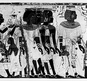 An Egyptian painting of Nubians (from modern Ethiopia), about 1300 BC Egyptian linen from a mummy