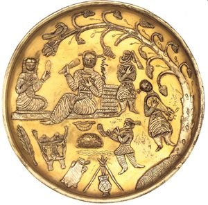 Musicians play a plucked instrument and blow a horn on this Sassanian plate from the 600s AD