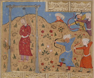 a Persian miniature painting of a man (Mazdak) hanging while other men shoot arrows at him