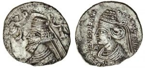 Musa of Parthia and her son and co-ruler on a silver coin.