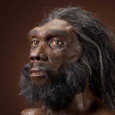 A dark-skinned man with long dark hair and a bushy beard.