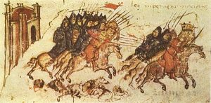 a medieval manuscript painting of a battle between men on horseback
