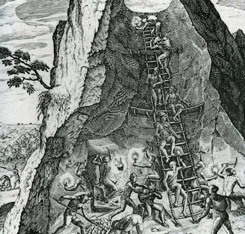 etching of the inside of a mine with enslaved workers on ladders